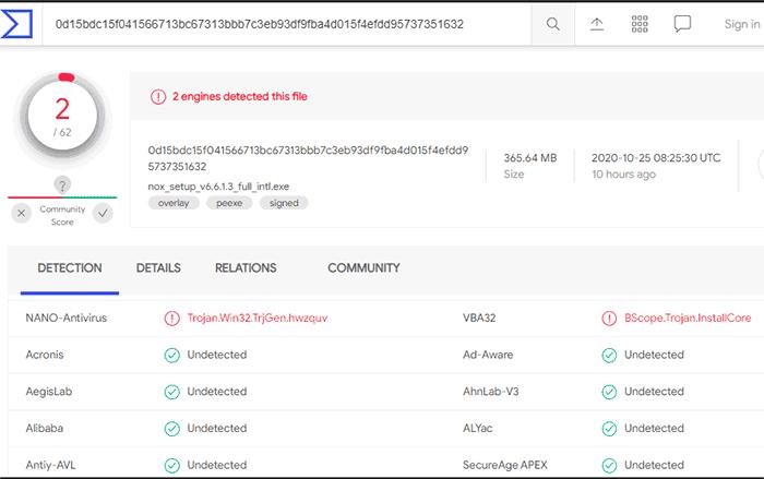 nox virustotal report