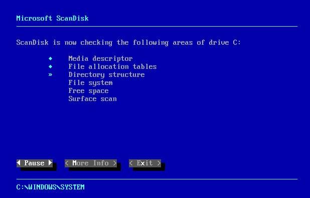 Windows 95 Scan disk